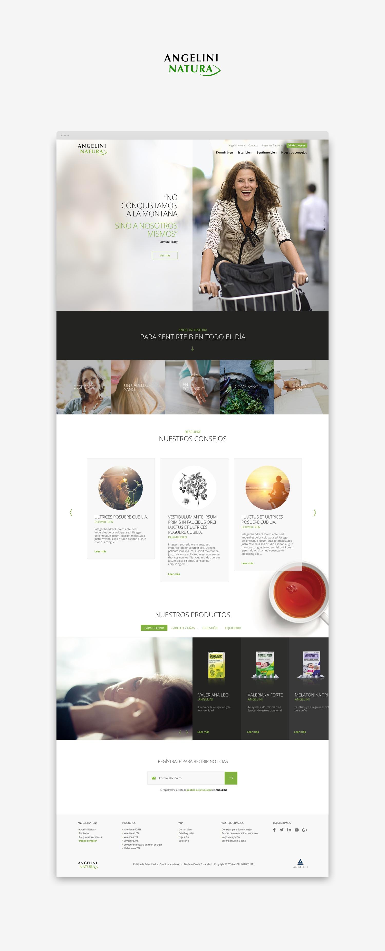 Diseño web · Angelini Natura · Samuel Matito · diseñador freelance