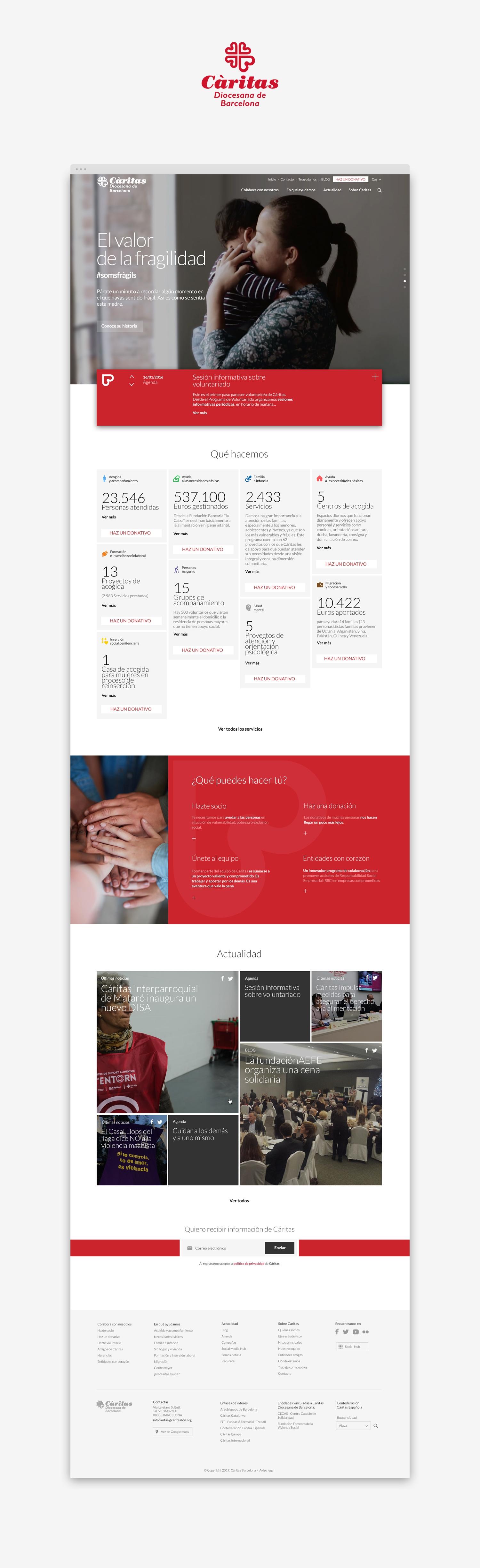 web · UX · UI · Cáritas Barcelona · Samuel Matito · diseñador freelance